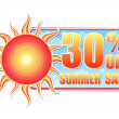 30 percentages off summer sale in label with sun - Stock Photo