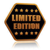 Limited edition five star hexagon button — Stock Photo