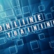 Stock Photo: Online training in blue glass cubes