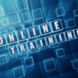 Online training in blue glass cubes — Stock Photo