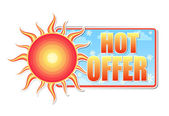 Hot offer in label with sun — Stock Photo