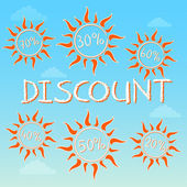Summer discount with different percentages in suns — Stock Photo