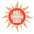 Hot summer sale in sun label — Stock Photo