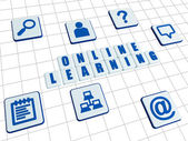 Online learning and internet signs in white blocks — Foto Stock