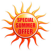Special summer offer in 3d sun label — Stock Photo