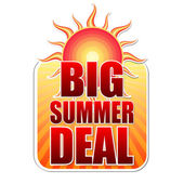 Big summer deal in label with sun — Stock Photo
