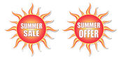Summer sale and summer offer in sun labels — Stock Photo