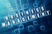 Business management in blue glass cubes — Stock Photo