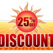 Summer discount and 25 percentages off in label with sun — Stock Photo