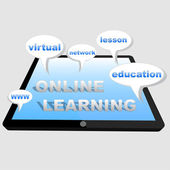 Online learning with tablet — Stok fotoğraf