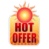 Summer hot offer in label with sun — Stock Photo