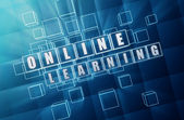 Online learning in blue glass cubes — Foto Stock