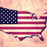 USA map and flag — Stock Photo