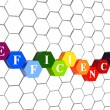 Efficiency in color hexagons in cellular structure — Stock Photo