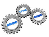 Assistance, support, guidance in silver grey gears — Stock Photo