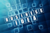 Business idea in blue glass cubes — Stock Photo