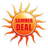 Summer deal in 3d sun label — Fotografia Stock