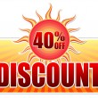 Summer discount and 40 percentages off in label with sun — Stock Photo