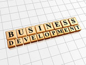 Business development in golden cubes — Stock Photo