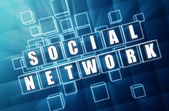 Social network in blue glass cubes — Stock Photo