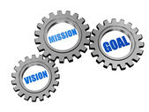 Vision, mission, goal in silver grey gears — Stock Photo