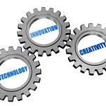 Technology, innovation, creativity in silver grey gears — Stock Photo #26379219
