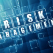 Risk management in blue glass cubes — Stock Photo