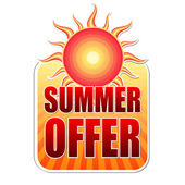 Summer offer in label with sun — Stock Photo