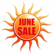 June sale in 3d sun label — Stock Photo