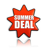 Summer deal red orange star banner — Zdjęcie stockowe