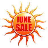 Vendita di giugno in etichetta di sole 3d — Foto Stock