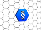 Paragraph sign in blue hexagon — Stock Photo