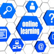 Stock Photo: Online learning and internet signs in blue hexagons