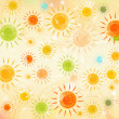 Retro summer background with motley suns — Stock Photo