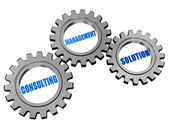 Consulting, management, solution in silver grey gears — Stock Photo