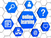 Online learning and internet signs in blue hexagons — Stok fotoğraf