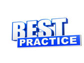Best practice blue white banner - letters and block — Stock Photo