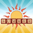 图库照片: Summer in wooden cubes, retro label with sun and rays