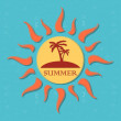 Retro summer label with sun, rays and palms — Stock Photo #27435371