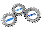 Company, innovation and creativity in silver grey gears — Stock Photo