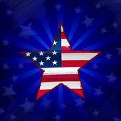 Bandeira do Eua em estrela de desenho sobre raios azuis — Fotografia Stock