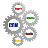 CRM and business concept words in silver grey gears — Stock Photo