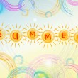 Summer background with text in yellow suns and circles and spira — Stock Photo #28203689