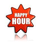 Happy hour v červené hvězdy banner — Stock fotografie