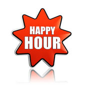 Happy hour in red star banner — Stock Photo