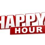 Happy hour červený bílý nápis - dopisy a blok — Stock fotografie