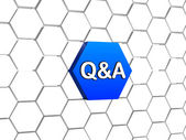 Q&a sign in blue hexagon — Stock Photo