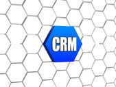 CRM sign in blue hexagon — Stock Photo