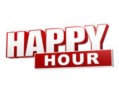 Happy hour red white banner - letters and block — Stock Photo