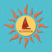 Retro summer label with sun, rays and boat — Stock Photo